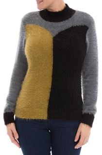 Colour Block Eyelash Knit Top - Black/Lime/Grey