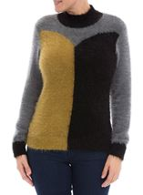 Colour Block Eyelash Knit Top