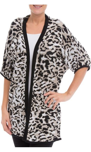 Printed Knit Open Cover Up Browns