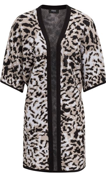 Printed Knit Open Cover Up Browns - Gallery Image 3