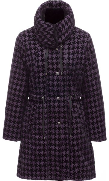 Flocked Dogtooth Coat Aubergine