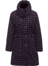 Flocked Dogtooth Coat Aubergine - Gallery Image 1