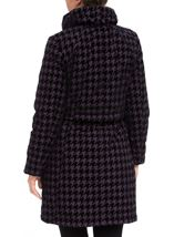 Flocked Dogtooth Coat Aubergine - Gallery Image 3