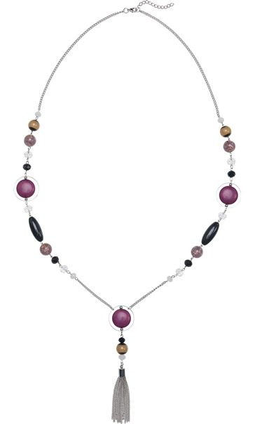 Long Multi Bead Necklace Grape