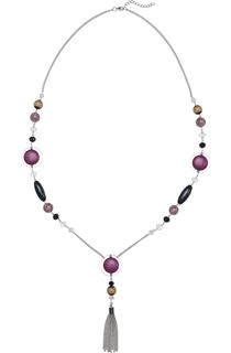 Mixed Bead And Tassel Necklace - Grape