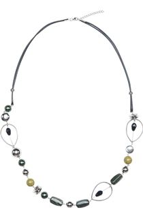 Mixed Bead Necklace - Pesto