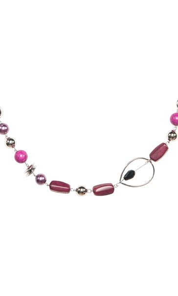 Beaded Fabric Chain Necklace Grape - Gallery Image 2