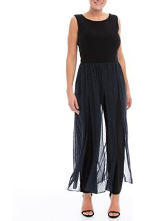 Sleeveless Chiffon Trim Jumpsuit