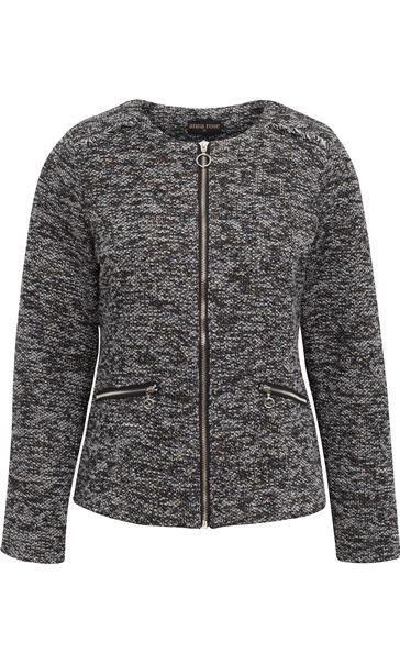 Anna Rose Long Sleeve Zip Jacket Black/Multi