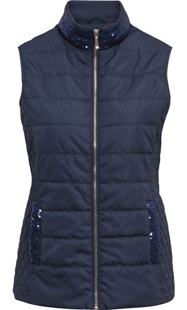 Anna Rose Sequin Trimmed Gilet Navy