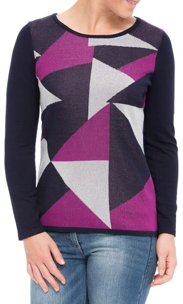 Anna Rose Knit Top Navy/Magenta