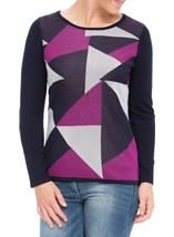 Anna Rose Knit Top Navy/Magenta - Gallery Image 1