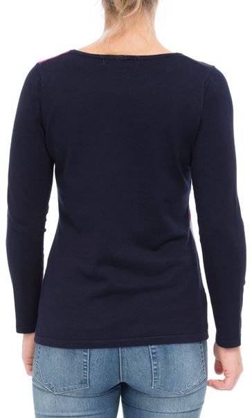 Anna Rose Knit Top Navy/Magenta - Gallery Image 2