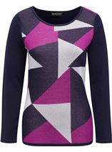Anna Rose Knit Top Navy/Magenta - Gallery Image 4