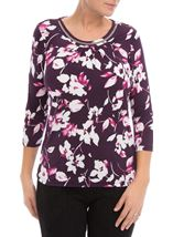 Anna Rose Floral Print Top Plum/Magenta - Gallery Image 1