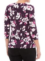 Anna Rose Floral Print Top Plum/Magenta - Gallery Image 2