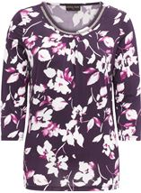 Anna Rose Floral Print Top Plum/Magenta - Gallery Image 4