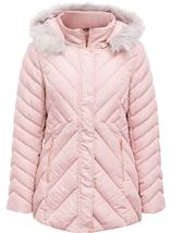 Quilted Faux Fur Trim Coat Blush Pink - Gallery Image 1