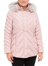 Quilted Faux Fur Trim Coat Blush Pink - Gallery Image 2