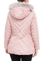 Quilted Faux Fur Trim Coat Blush Pink - Gallery Image 3