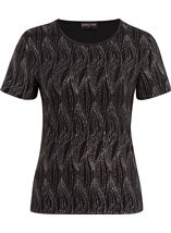 Anna Rose Glitter Wave Top Black/Rainbow - Gallery Image 1