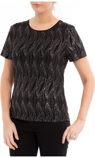 Anna Rose Glitter Wave Top Black/Rainbow - Gallery Image 2