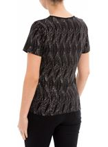 Anna Rose Glitter Wave Top Black/Rainbow - Gallery Image 3