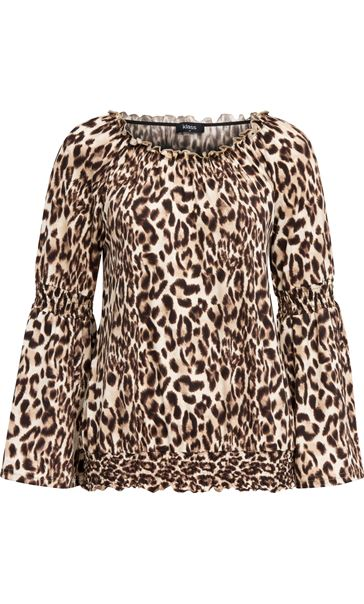 Animal Print Bardot Top Browns