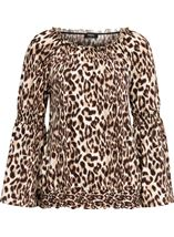 Animal Print Bardot Top Browns - Gallery Image 1