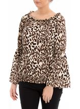 Animal Print Bardot Top Browns - Gallery Image 2