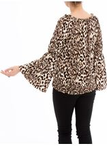 Animal Print Bardot Top Browns - Gallery Image 3