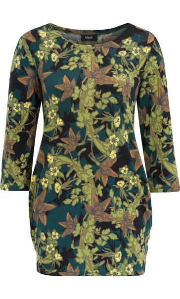 Brushed Floral Knit Tunic Verde Green
