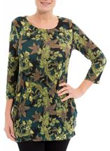 Brushed Floral Knit Tunic Verde Green - Gallery Image 2