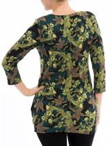 Brushed Floral Knit Tunic Verde Green - Gallery Image 3