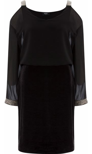 Chiffon And Velour Split Sleeve Midi Dress Black