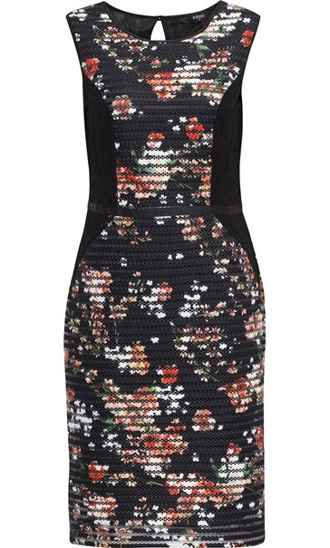Floral Print And Lace Panelled Midi Dress Black/Coral