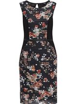 Floral Print And Lace Panelled Midi Dress Black/Coral - Gallery Image 1