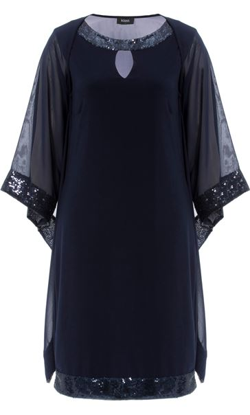 Sequin Trim Midi Dress With Cover Up Midnight