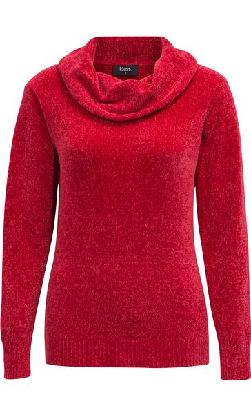 Cowl Neck Long Sleeve Chenille Top Red
