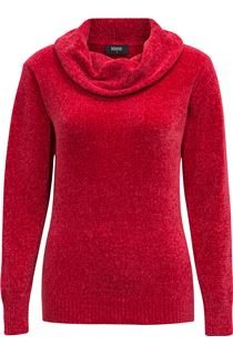 Cowl Neck Long Sleeve Chenille Top - Red