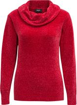 Cowl Neck Long Sleeve Chenille Top Red - Gallery Image 1