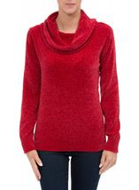 Cowl Neck Long Sleeve Chenille Top Red - Gallery Image 2