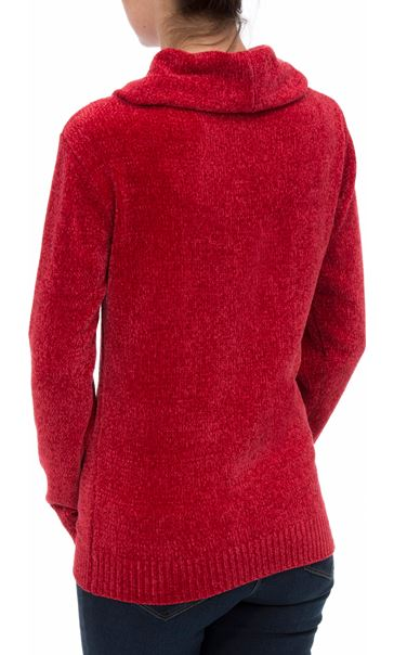 Cowl Neck Long Sleeve Chenille Top Red - Gallery Image 3