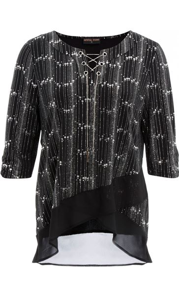 Anna Rose Chiffon Hem Chain Top Black/Silver