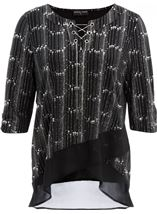 Anna Rose Chiffon Hem Chain Top Black/Silver - Gallery Image 1