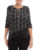 Anna Rose Chiffon Hem Chain Top Black/Silver - Gallery Image 2