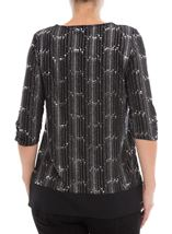 Anna Rose Chiffon Hem Chain Top Black/Silver - Gallery Image 3