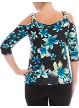 Floral Cold Shoulder Top Multi Peacock - Gallery Image 2
