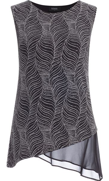 Asymmetric Sleeveless Shimmer Top Black/Silver