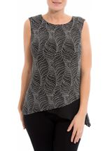 Asymmetric Sleeveless Shimmer Top Black/Silver - Gallery Image 2